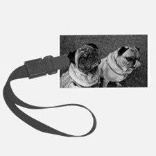 Pug Pals in Black and White Luggage Tag