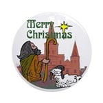 Merry Christmas Star Ornament (Round)