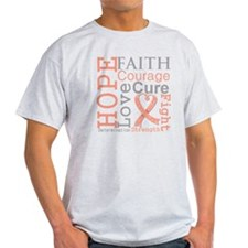 Hope Courage Uterine Cancer T-Shirt