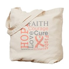 Hope Courage Uterine Cancer Tote Bag