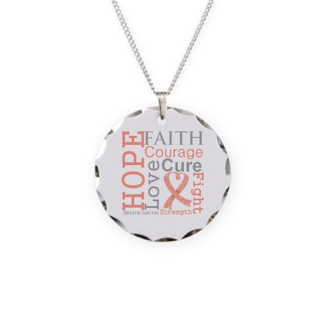 Hope Courage Uterine Cancer Necklace Circle Charm