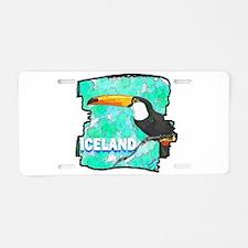 iceland puffin art illustration Aluminum License P