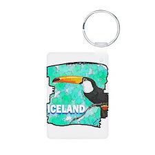 iceland puffin art illustration Keychains