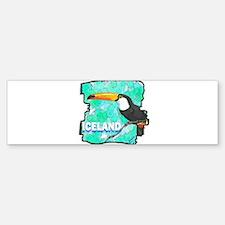 iceland puffin art illustration Bumper Bumper Sticker