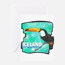 iceland puffin art illustration Greeting Card