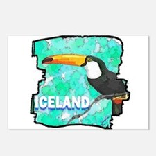 iceland puffin art illustration Postcards (Package