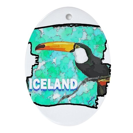 iceland puffin art illustration Ornament (Oval)