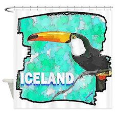 iceland puffin art illustration Shower Curtain