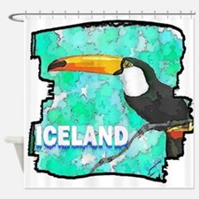 iceland puffin art illustration Shower Curtain