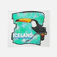 iceland puffin art illustration Throw Blanket
