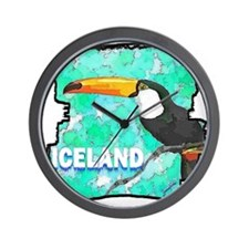 iceland puffin art illustration Wall Clock