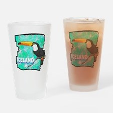iceland puffin art illustration Drinking Glass