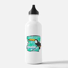 iceland puffin art illustration Water Bottle