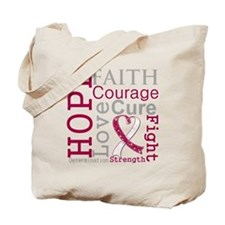 Throat Cancer Hope Courage Tote Bag