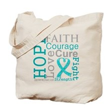 Peritoneal Cancer Hope Courage Tote Bag