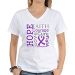 Pancreatic Cancer Hope Courage Women's V-Neck T-Sh