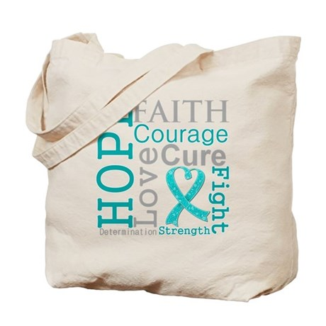 Ovarian Cancer Hope Courage Tote Bag