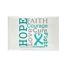 Ovarian Cancer Hope Courage Rectangle Magnet