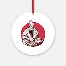 Butcher Cutter Worker Meat Cleaver Knife Retro Orn