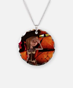 Cute pirate girl with ship Necklace