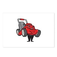Lawn Mower Man Standing Arms Folded Cartoon Postca