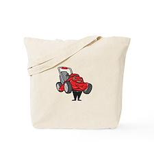 Lawn Mower Man Standing Arms Folded Cartoon Tote B