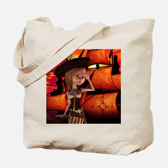 Cute pirate girl with ship Tote Bag
