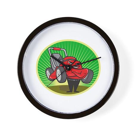 Lawn Mower Man Cartoon Oval Wall Clock