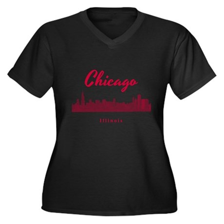 Chicago Women's Plus Size V-Neck Dark T-Shirt