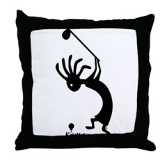 Kokopelli Golfer Throw Pillow