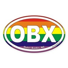 Outer Banks NC Rainbow Euro Oval Decal