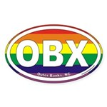 Outer Banks NC Rainbow Euro Oval Sticker