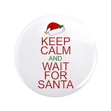 """Keep calm Santa 3.5"""" Button"""