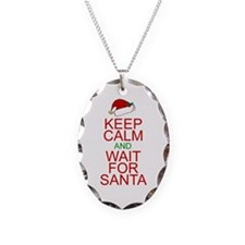 Keep calm Santa Necklace Oval Charm