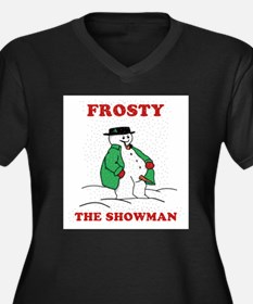 Christmas Showman Women's Plus Size V-Neck Dark T-