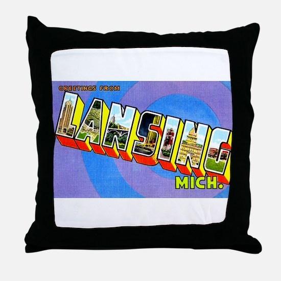 Lansing Michigan Greetings Throw Pillow