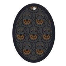 Bunch of Beauceron Oval Ornament