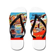 Long Beach California Greetings Flip Flops
