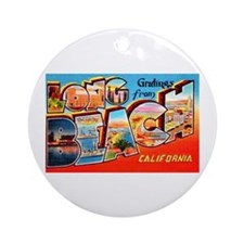 Long Beach California Greetings Ornament (Round)