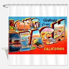 Long Beach California Greetings Shower Curtain