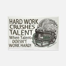Hard Work Football Rectangle Magnet