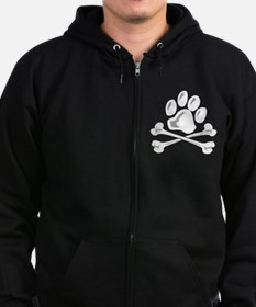 paw and crossbones Zip Hoodie