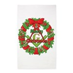 Masonic Christmas Wreath 3'x5' Area Rug
