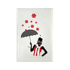 Prepper In The Rain Rectangle Magnet