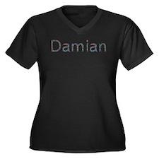 Damian Paper Clips Women's Plus Size V-Neck Dark T