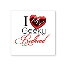 "I Love my Geeky Redhead Square Sticker 3"" x 3"""