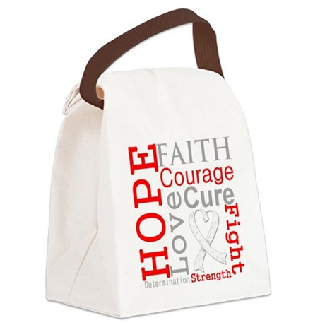 Lung Cancer Hope Courage Canvas Lunch Bag