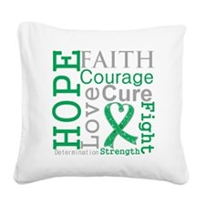 Liver Cancer Hope Courage Square Canvas Pillow