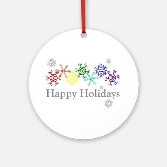 Rainbow Snowflakes Ornament (Round)