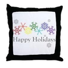 Rainbow Snowflakes Throw Pillow